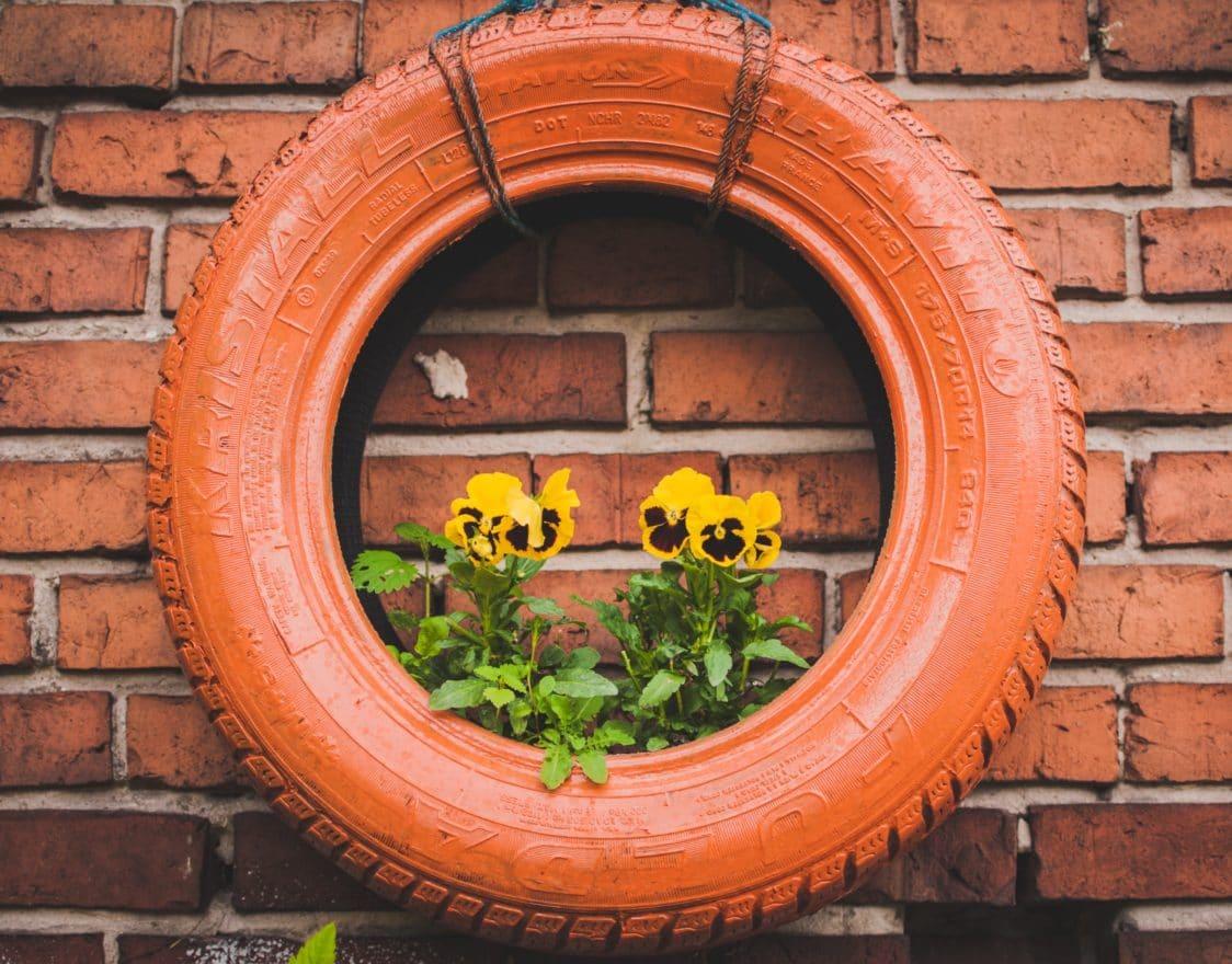 Un bel vaso da fiori per il tuo giardino realizzato colorando una vecchia gomma da auto