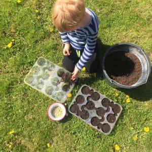bambino fa l'orto