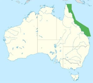 Posizione barriera corallina australiana sulla costa Est