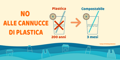 No alle cannucce in plastica si alle cannucce compostabili